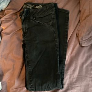american eagle size 00 black skinny jeans
